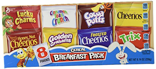 General Mills Assorted Breakfast Cereal Pouches 8 Count 914oz Box Pack of 2