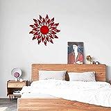 KANGNING Etiqueta engomada de la Pared Arte extraíble Mural Decal Sofá Sofá Hogar Decor3D Sunflower Espejo Etiqueta de la Pared-Rojo Well