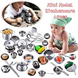 Hearthrousy Küchenspielzeug Zubehör Kinderküche Kochgeschirr Edelstahl Pfannenset 16 Stück Küchenutensilien Set Küchenspiel Set Schürze und Kochmütze für Mädchen und Jungen