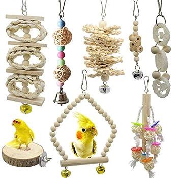 Lot de 8 balançoires en bois naturel à mâcher pour cage à oiseaux - Jouets pour perruches, calopsittes, conures, pinsons, perruches et accessoires pour calopsittes, aras, oiseaux inséparables