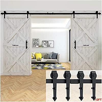 """FaithLand 12"""" Barn Door Handle with Flush Finger Pull, Pull and Flush Door Handle Set in Black, Square - Fit Doors Up to 2 3/8''"""