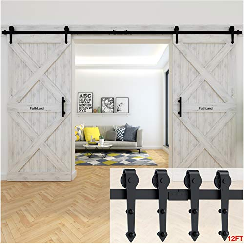 FaithLand 12FT Double Sliding Barn Door Hardware Track Kit for Wood Door Closet - 12 Foot Rail Kit...