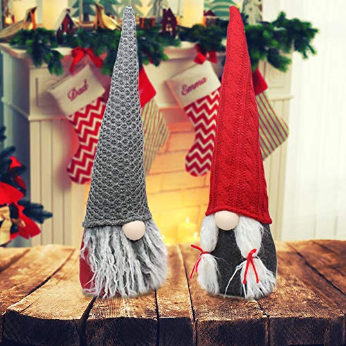 2 Pack Holiday Gnome Plush Handmade Swedish Tomte,Christmas Nisse Decoration Santa Dwarf Ornaments Scandinavian Elf Gifts,15""
