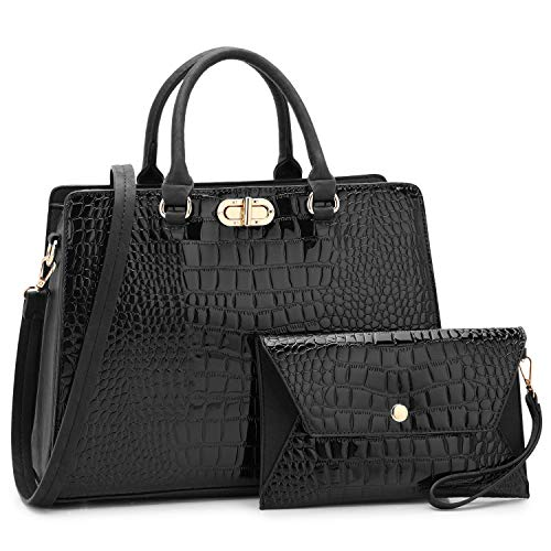 Dasein Women Fashion Handbags Tote Purses Shoulder Bags Top Handle Satchel Purse Set 2pcs Croco Black