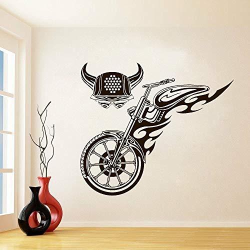 NSRJDSYT Pegatina de Pared de Casco de Cuerno de Rueda de Motociclista de Bicicleta de Fuego, decoración de casa, Dormitorio, niño, calcomanía de Vinilo para Motocicleta 65x57cm