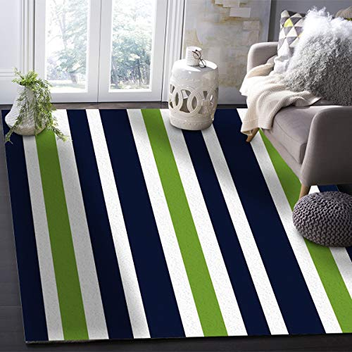 OUR WINGS Modern Area Rug,Navy Blue, Lime Green and White Stripe Indoor Area Rugs Living Room Carpets for Home Decor Bedroom Nursery Rugs