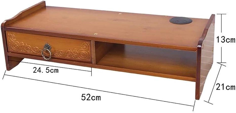 Computer Increased Shelf Desktop Storage mat Elevated Bamboo Desktop Storage Box Frame Bamboo Desktop Display Stand Carved Pattern Single Pumping Brown