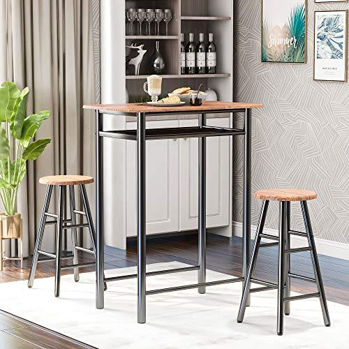 JTTVO 3-teiliges Bartisch-Set, moderner Kneipen-Tisch und Stühle, Esszimmer-Set, Küche, Thekenhöhe, Esstisch-Set mit 2 Barhockern, integrierte Aufbewahrungsschicht, einfache Montage (braun)