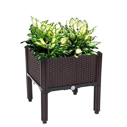 2Pcs Free Splicing Injection Planting Box Brown - Raised Garden Bed Flower or Vegetable Planter Plant Box for Garden, Planting
