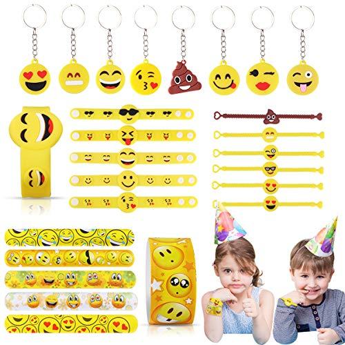 JOYUE 28 Piezas Juguete Emoji, Emoji Llavero Emoji Pulsera Emoji Slap Pulsera para Niños Adultos Fiesta Favores Niños Cumpleaños Regalo Partido Suministra Pequeños Juguetes