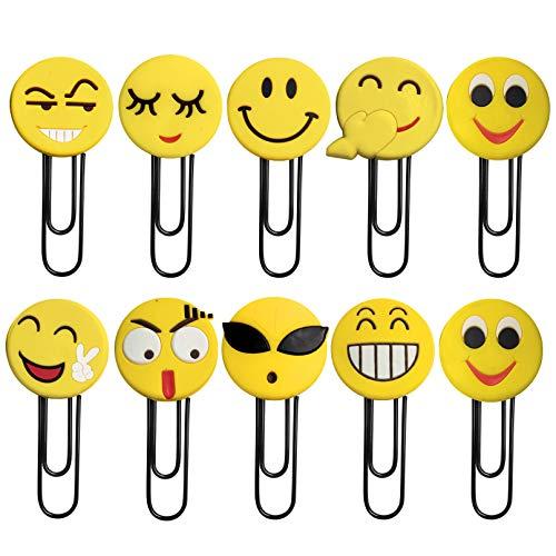 Segnalibri Emoji carini, segnalibro graffetta divertente, segnalibro emoticon novità per la festa di compleanno per bambini favorisce i regali degli studenti (10 pezzi)