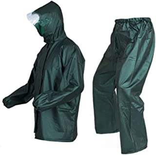 Qivor Waterproof clothing Raincoat Rain Pants Suit Split Waterproof Double Raincoat Suit Unisex, Dark Green, One Size Men'...