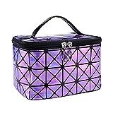 borsa per cosmetici Borsa cosmetica funzionale Donne Fashion PU Viaggi Make Up Needs Doursi Brandizer Zipper Makeup Case Borsa Kit da toilette Borsa borsa per cosmetici da donna ( Color : Purple )
