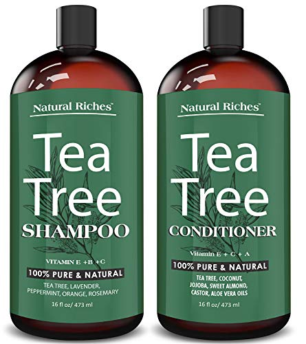Natural Riches Tea Tree Shampoo and Conditioner Set with Pure Tea Tree Oil, Anti Dandruff for Itchy Dry Scalp, Sulfate Free, Paraben Free - 2 bottles 16fl oz each