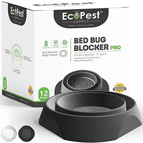 Intercepteurs de Punaises de Lit – Lot de 12 | Bed Bug Blocker (Pro) Pièges Intercepteurs (Noirs) | Piège à Insectes, Dispositif de Contrôle, et Détecteur Pour Pieds de Lit
