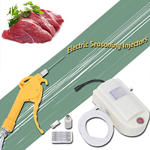 EnweGey Jeringa Cocina para Adobo BBQ, Inyector de Condimento de Carne Eléctrico con Agujas de Inyector, Bomba de Inyector de Carne de Adobo para Asar, Hornear y Cocinar