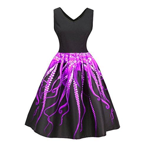 MRULIC Cocktailkleid Festival Kleid Damen Vintage Bodycon Abend Party Octopus Schwanz Muster Oktoberfest Karneval V-Ausschnitt Abendkleid