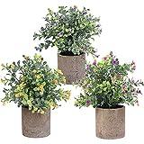 Künstliche Pflanzen Kunstblumen im Topf 3 Stück Pflanze Künstliche Mini Pflanzen Deko für Küche, Bad, Schlafzimmer