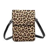 Bolso de hombro pequeño con estampado de leopardo para teléfono móvil, bolso de mano, ligero, para mujeres y niñas