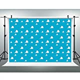 LUCKSTY Blue Toy Backdrops for Photography 9x6FT White Clouds Wall Paper Photo Backgrounds for Children Kids Birthday Themed Party Photo Booth Props LUGE081