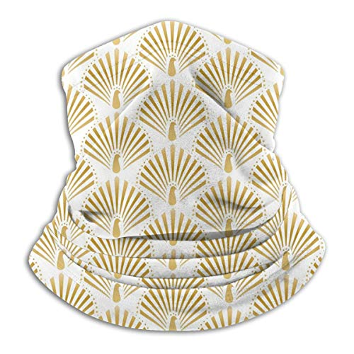 Calentador de Cuello de Microfibra Unisex Pavo Real Dorado En Fondo Blanco Pasamontañas Sombreros Bufanda para Polvo Protección Solar Contra el Viento