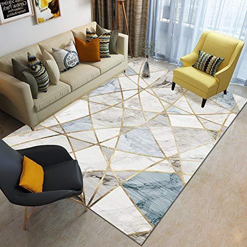 HXJHWB Sala de estar con alfombras en área de pelo corto - Sofá sala de estar, mesa de café, exquisita alfombra impresa de mármol, pelo corto y fácil cuidado - 120 cm x 160 cm