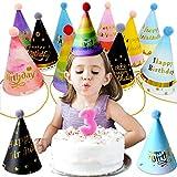 ZXT 11 Pezzi Cappelli per Feste,Compleanno Bambini Cappellini Carta Colorati,Compleanno Cappelli a Cono,Party Cupcake Topper,Cappelli da Festa di Compleanno,per Bambini Decorazioni Feste Compleanno