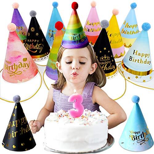 ZXT 11PCS Partyhüte Geburtstag,Partyhüte Party Kegel Hüte,Happy Birthday Partyhütchen Party Kegel Hüte,Kegel Hüte mit Pom Poms,für Kinder Kinder Geburtstag Party Dekor Foto Prop