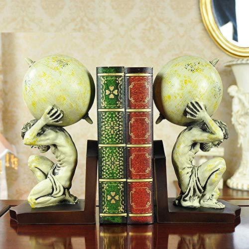 Zhihao Ornamente Statuen Startseite Atlas Globe Bookends Cremig-Weiß
