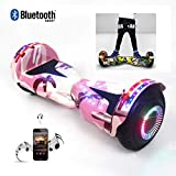 8' Self Balancing Scooter Hoverboard with Bluetooth Added Portable Design with Bluetooth Speaker, LED Lights, Flashing Wheels, Best Toy and Gift for Children,Camouflage Pink