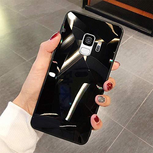 Uposao Kompatibel mit Samsung Galaxy S9 Hülle Spiegel Schutzhülle Bling Glänzend Glitzer Kristall Strass TPU Silikon Handyhülle Weiche Silikon Rückseite Glitzer Hülle Case Tasche,Schwarz