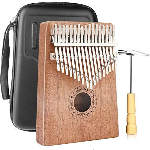 Kalimba 17 chiavi, piatto per pollice Kalimba Thumb Piano Finger Solido strumento Kalimba con custodia impermeabile (mogano)