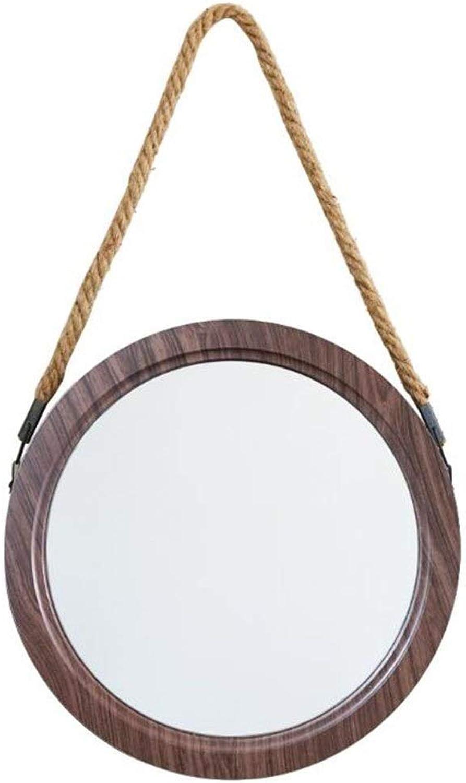 Round Mirror Bathroom Wall Mirror with Lanyard Industrial Style Attic Porch Decorative Mirror PVC Frame