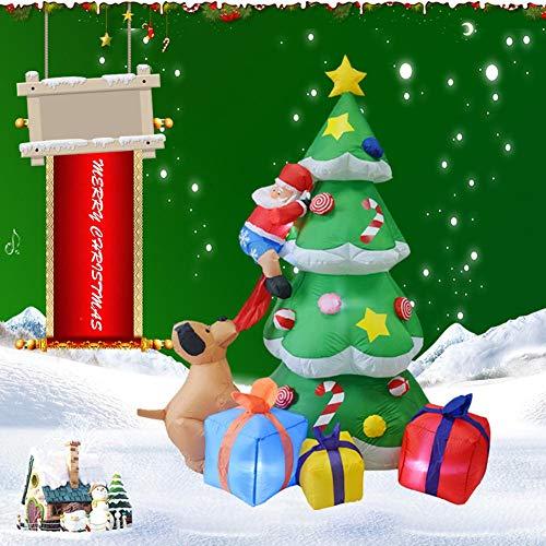 Aufblasbarer Weihnachtsbaum | Leucht Christbaum 210cm Leuchtender Tannenbaum | Weihnachtsdeko Baum - Heilig Abend Raumdekoration - Aufblasbare Puppe Weihnachtsmann Dekoration mit Hellen LED-Lichtern