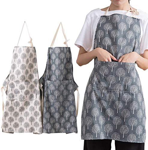 BESTZY 2 Stücke Damen Küchenschürze mit Taschen Verstellbare Küchenschürze Wasserdicht Baumwolle Leinen Küchenschürze für Damen und Männer