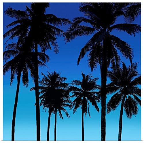 GREATBIGCANVAS Palms Black on Blue I Fine Art Poster Print, Home Decor Artwork, 12