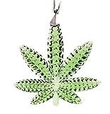 Green Crystal Cannabis Leaf Christmas Weed Ornament (3' W x 3' H) High End Crystal Medical Marijuana Pot Leaf Gift Fun Holiday Ornament