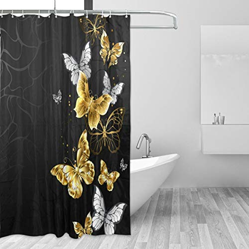 susiyo Gold White Butterflies Black Shower Curtain Liner, 72 x 72 Waterproof Fabric Shower Curtains with Hooks for Bathroom Hotel
