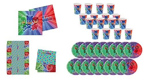 PJ Masks 0461, Pack Desechables Fiesta y Cumpleaños, 16 Vasos, 16 Platos 23 cm, 20 servilletas y 1 Mantel 120x180 cms