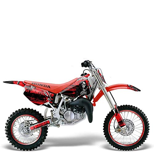 Wholesale Decals MX Dirt Bike Graphics kit Sticker Decal Compatible with Honda CR80 1996-2002 - Reaper V2 Red