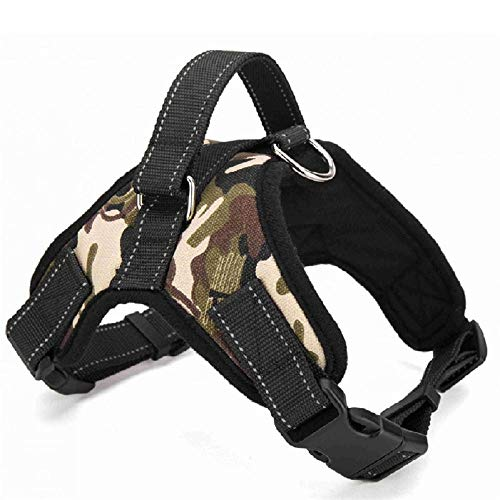 Arnés para Mascotas de Nailon Collar de arnés para Perros arnés para Perros Ajustable Adecuado para arnés para Perros Grandes, medianos y pequeños Suministros para Mascotas-Camuflaje_XL