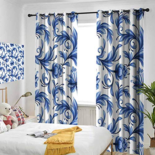 Vintage Blue Abstract Pattern with Russian Folk Art Flowers Traditional Gzhel Ornament Blue and White Bedroom Blackout Curtains Three-Layer Braided Noise Reduction Ring top Shade Curtain W84 x L108 I