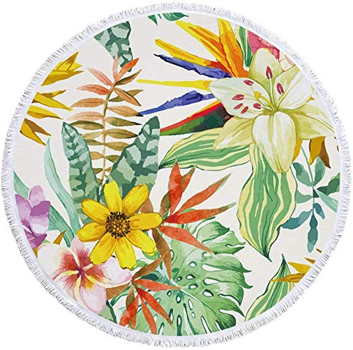 Toalla de Playa Redonda Manta Gruesa de Gran tamaño, Tela de Microfibra con Flecos de borlas de algodón, Estampado Floral Pintado de Novedad, Grueso,