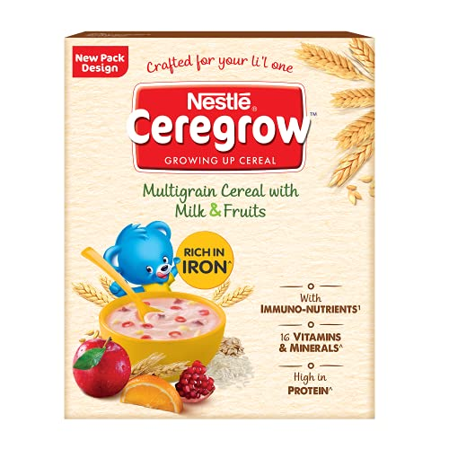 Nestle CEREGROW Growing Up Multigrain Cereal with Milk and Fruits (From 2-5 Years), 300g Bag-In-Box 2