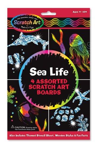 Melissa & Doug - 15918 - Feuilles de dessins Scratch Art Vie Marine