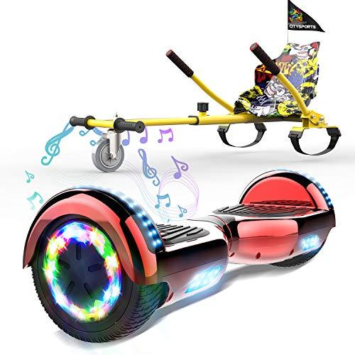 HITWAY Scooter eléctrico autobalanceado de 6,5 Pulgadas, Scooter eléctrico Segway, Bluetooth, Ruedas de Equilibrio, Luces LED, Motor de 700 W, monopatín para niños y Adultos (Gray)