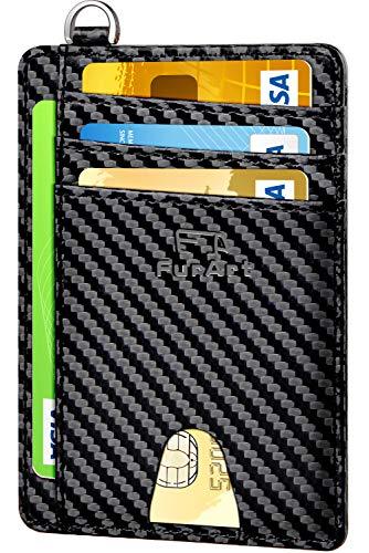 FurArt Portefeuille Minimaliste Fin, Porte-Cartes de Crédit avec Blocage Anti RFID, Les Femmes Hommes, Démontage Manille en D,Fibre de carbone noir