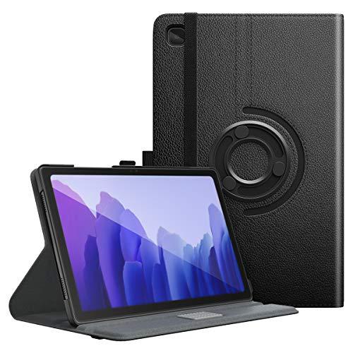 MoKo Hülle Kompatibel mit Samsung Galaxy Tab A7 10.4 Inch 2020 Model (SM-T500/505/507), Vollständige Schutzhülle Harte Rückseite 90° Drehbar Ständer Auto Schlaf/Aufwach, Schwarz