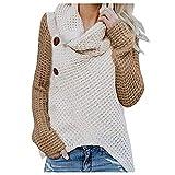 ZuzongYr Damen's Mäntel Jersey de punto para mujer, cuello de tortuga, camisa, botón, jersey de manga larga, hueco, blusa regular, sudadera. caqui XXL