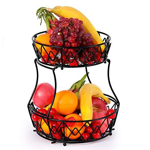 Tazón de fruta de 2 niveles, estante de metal para cesta de frutas, soporte de fruta desmontable, estante de verduras, cesta de aperitivos